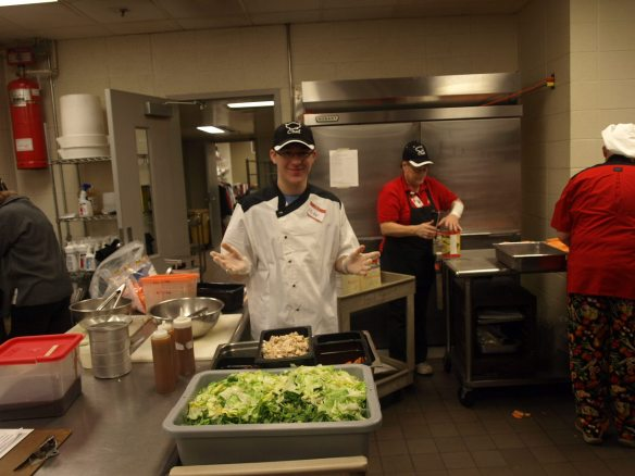 Student chef makes Michigan salads with dried cherries, of course!