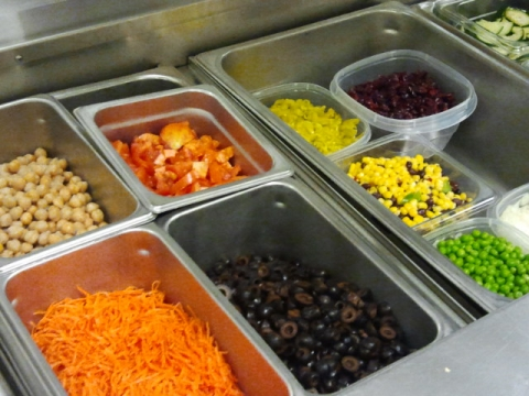 "Veggie toppings for a ""Build Your Own Salad Lunch"""