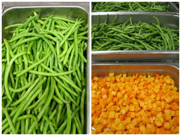 Vegetables from the line in Timpview High School, Provo, Utah