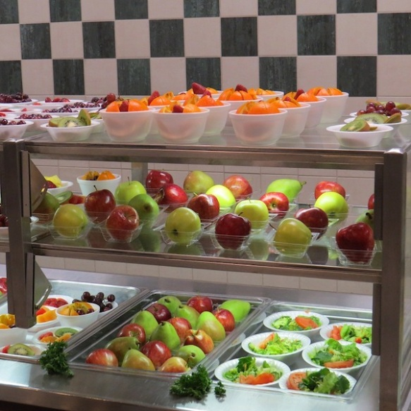 Dramatic display of fruits and vegetables from Jackson-Madison County School System, Tennessee