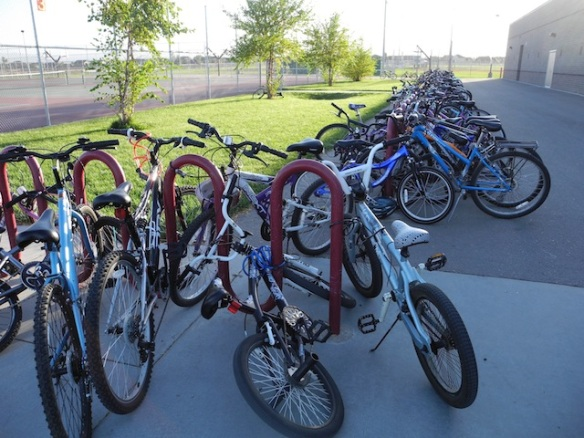 Full Bike Racks at Heritage Middle School in Meridian Idaho