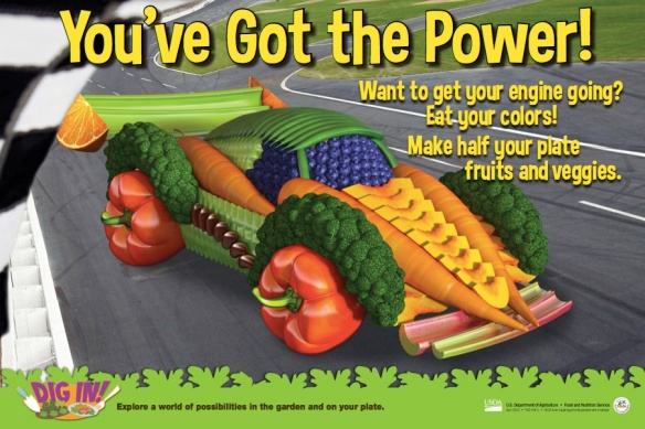 USDA Dig In! Posters: Race Car (black beans, blueberries, broccoli, carrots, celery, green beans, oranges, peaches, red bell pepper, rhubarb, sugar snap peas)