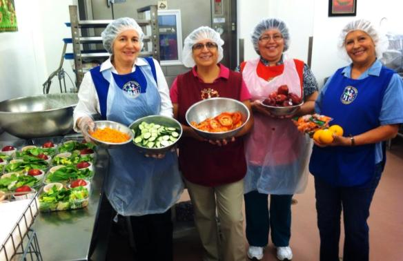 School Nutrition Professionals make daily salads. El Monte City Schools, California (May 2014)