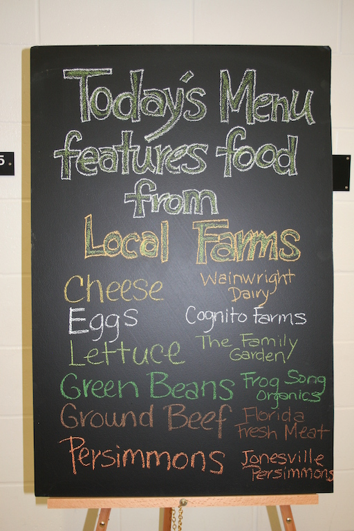 2014 Menu for Food Hub Kickoff event, Alachua County Schools, Florida