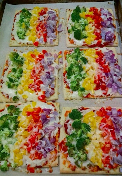 Rainbow Flatbread Veggie Pizza, QV Cafe, Quaker Valley Schools, Pennsylvania