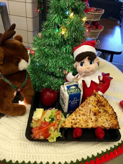 Jimmy the Kitchen Elm enjoys a complete school lunch at Kennedy Elementary School, Billerica, Massachusetts