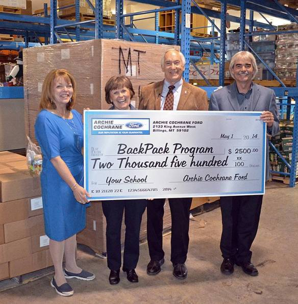 Archie Cochrane Ford donates $2500 to the BackPack Meals Program (May 2014)