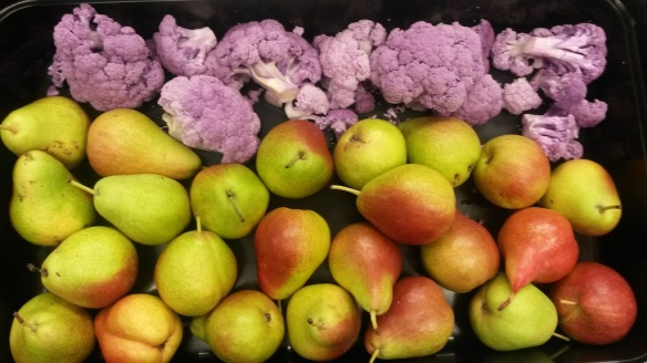 Pears and Purple Cauliflower, Parkside Elementary School, Grants Pass, Oregon