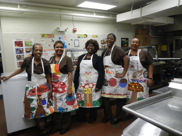 Lusher Elementary Lunch Ladies - ready for 'Mushroom Week' in New Orleans